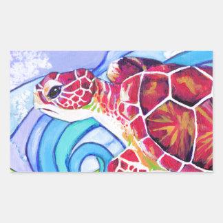 Adesivo Retangular Tartaruga de Surfin