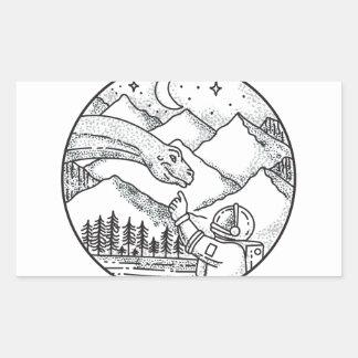 Adesivo Retangular Tatuagem do círculo da montanha do astronauta do