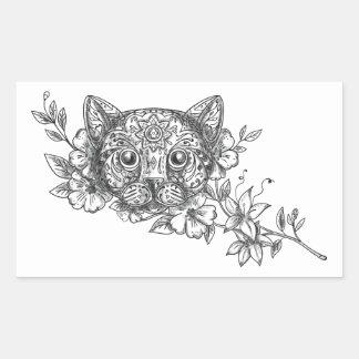 Adesivo Retangular Tatuagem principal da flor do jasmim do gato