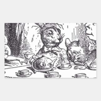 Adesivo Retangular Tea party louco do Hatter