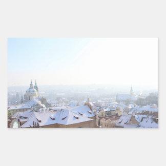 Adesivo Retangular Telhados do inverno de Praga