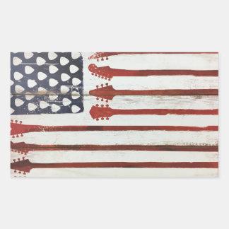 Adesivo Retangular Tema patriótico da música da guitarra da bandeira
