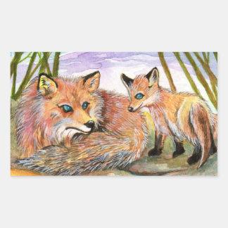 Adesivo Retangular Tempo da sesta de pouco Fox