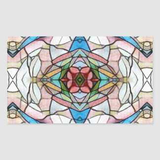 Adesivo Retangular Teste padrão artístico raro bonito do vitral