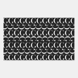 Adesivo Retangular Teste padrão inicial do monograma, letra G no