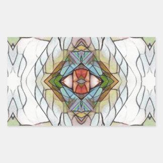 Adesivo Retangular Teste padrão moderno artístico legal do vitral