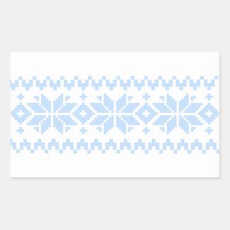 Adesivo Retangular Teste padrão nórdico da camisola do Natal