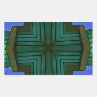 Adesivo Retangular Teste padrão simétrico linear legal do verde azul