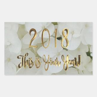 Adesivo Retangular Texto 2018 floral do ouro do Hydrangea do feliz