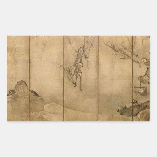 Adesivo Retangular Tinta japonesa nos primatas de papel & na paisagem