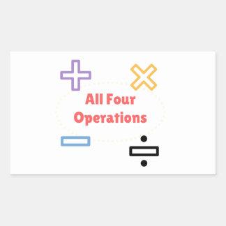 Adesivo Retangular Todas as quatro operações
