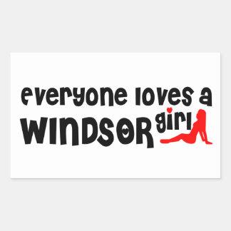 Adesivo Retangular Todos ama uma menina de Windsor
