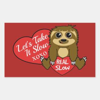 Adesivo Retangular Tome-lhe o dia dos namorados lento da preguiça