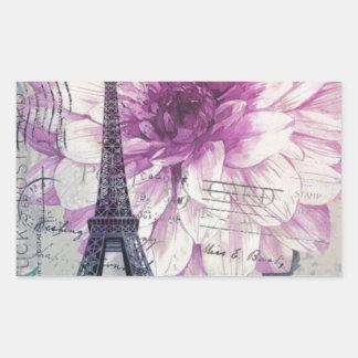 Adesivo Retangular Torre Eiffel floral chique de Paris do vintage de