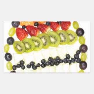 Adesivo Retangular Torta dada forma ovo da fruta com várias frutas