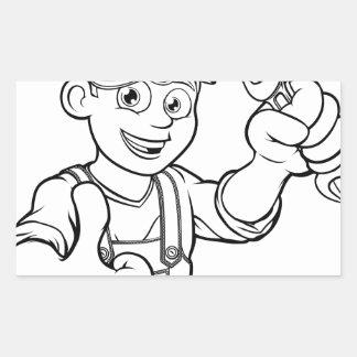 Adesivo Retangular Trabalhador manual do mecânico ou do canalizador