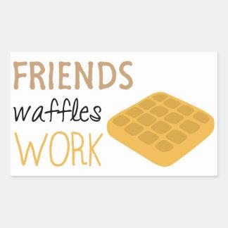 Adesivo Retangular Trabalho dos Waffles dos amigos
