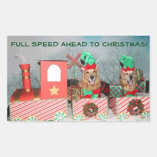Adesivo Retangular Trem do Natal da velocidade máxima do golden