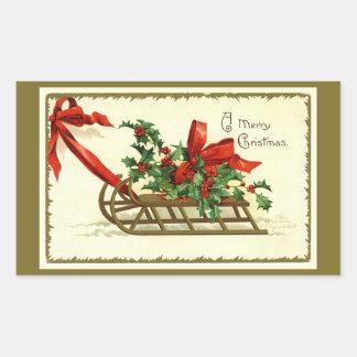 Adesivo Retangular Trenó dourado do Natal do vintage