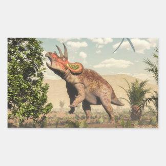 Adesivo Retangular Triceratops que come na árvore da magnólia - 3D
