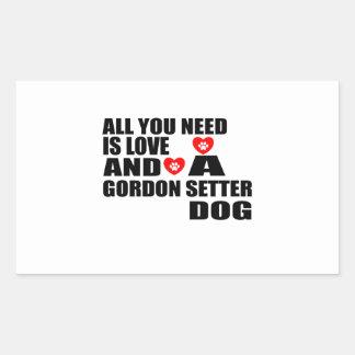 Adesivo Retangular Tudo você precisa o design dos cães do SETTER de
