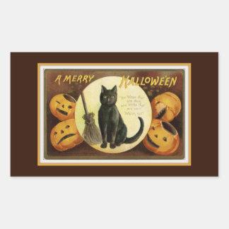 Adesivo Retangular Um gato preto alegre do Dia das Bruxas e abóboras