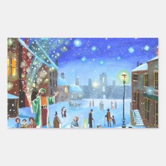 Adesivo Retangular Uma cena da rua do inverno de Scrooge da canção de