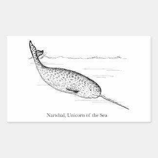 Adesivo Retangular Unicórnio da baleia de Narwhal do mar