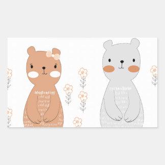 Adesivo Retangular Urso de ursinho bonito do casal dos namorados dos