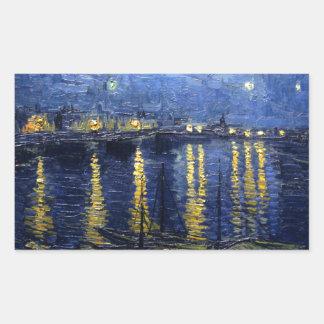 Adesivo Retangular Van Gogh: Noite estrelado sobre o Rhone