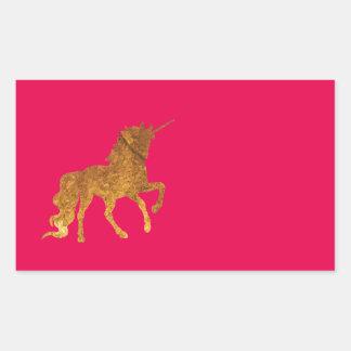 Adesivo Retangular Várias cores Prancing mágicas do unicórnio dourado
