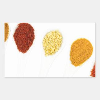 Adesivo Retangular Várias especiarias do tempero em colheres da