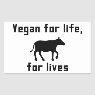 Adesivo Retangular Vegan para a vida