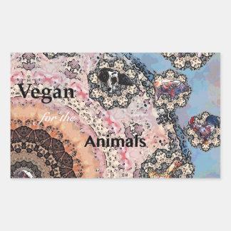 Adesivo Retangular Vegan para os animais