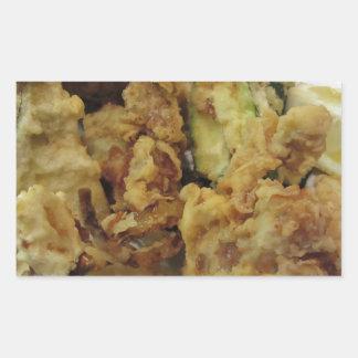 Adesivo Retangular Vegetais crocantes panados e fritados com limão