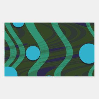 Adesivo Retangular Verde azul marmoreado da onda do ponto