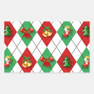 Adesivo Retangular verde vermelho do design novo do Natal