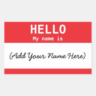 Adesivo Retangular Vermelho personalizado Nametag para o trabalho ou