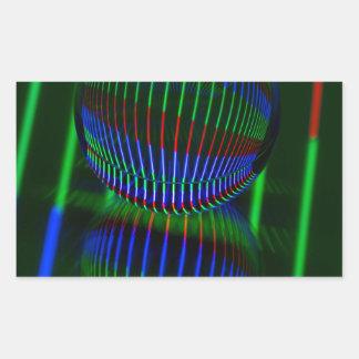 Adesivo Retangular Vermelho, verde, azul na bola de cristal