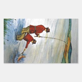 Adesivo Retangular Viagem de pesca do pai e do filho
