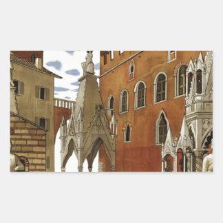 Adesivo Retangular Viagem de Verona do vintage