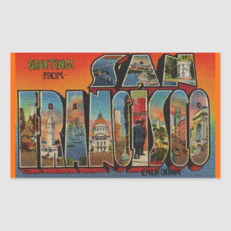 Adesivo Retangular Viagens vintage San Francisco