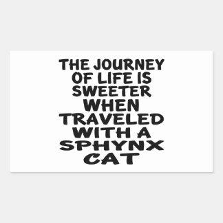 Adesivo Retangular Viajado com gato de Sphynx
