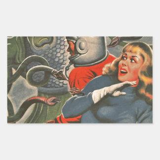Adesivo Retangular Viajantes do espaço atacados pelo monstro do