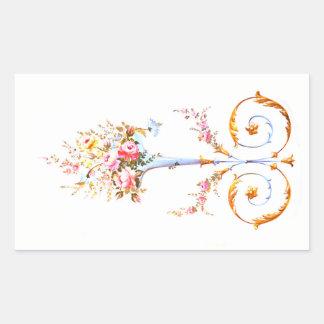 Adesivo Retangular vin elegante romântico da pintura rococo da escova