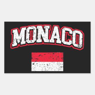 Adesivo Retangular Vintage da bandeira de Monaco