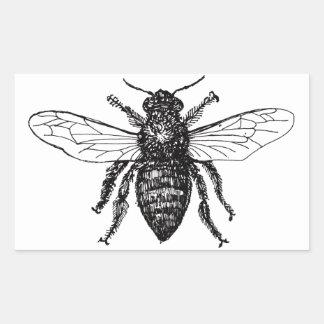 Adesivo Retangular Vintage preto e branco da abelha de trabalhador