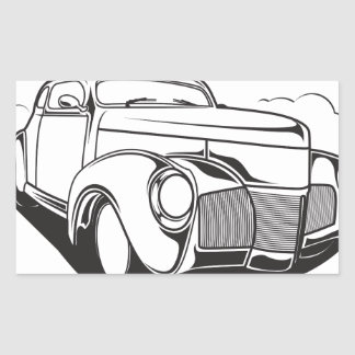 Adesivo Retangular Vintage retro do carro clássico