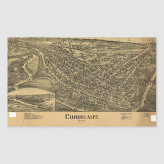Adesivo Retangular Vista aérea de Conneaut, Ohio (1896)