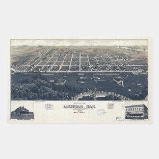 Adesivo Retangular Vista aérea de Mandan, North Dakota (1883)